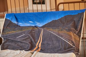 Neues Produkt der Cuseno-Serie: Das sehr persönliche Handtuch. Route 66 im Schwimmbad